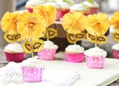 Pina Colada Cupcakes w/ Kiwi Frosting