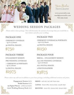 Wedding Photography Package Pricing - Photographer Price List - Wedding - Photoshop Template Wedding Package Prices - INSTANT DOWNLOAD Fully editable photographer package pricing list - doesnt have to be just for portraits and/or sessions, change how you see fit. Very professional