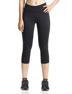 "Baleaf Women's Yoga Capri Pants Workout Running Legging Inner Pocket Black Size M. Non see-through, moisture-wicking, breathable and stretchy fabric provides complete coverage. Mini hidden waistband pocket for convenience. Elastic waistband for a snug, comfortable fit. Flat seams help reduce irritation caused by chafing. Ergonomic seams for natural range of motion. Size Chart: Waist: XS=24-26"", S=26.5-28"", M=28.5-30"", L=30.5-32"", XL=32.5-35""."