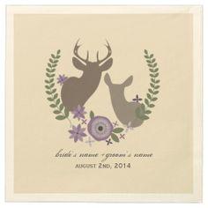 Deer + Purple Floral Wedding Napkins Paper Napkin