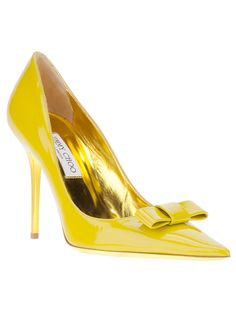 Jimmy Choo Yellow Marcie Point Toe Bow Pumps #Shoes #JimmyChoo #Choos