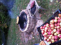 Fall favorite; making applesauce over open fire