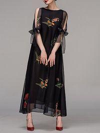 Shop Maxi Dresses - Black Crew Neck Floral Elegant Maxi Dress online. Discover unique designers fashion at StyleWe.com.