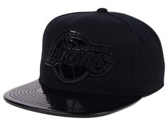 Los Angeles Lakers Mitchell and Ness NBA Patent Black Out Snapback Cap