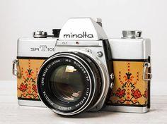 Reserved, Minolta SRT101, functional vintage 35mm film analog SLR camera, portrait 50 prime lens, Neckstrap, Genuine Leather, New Lightseals