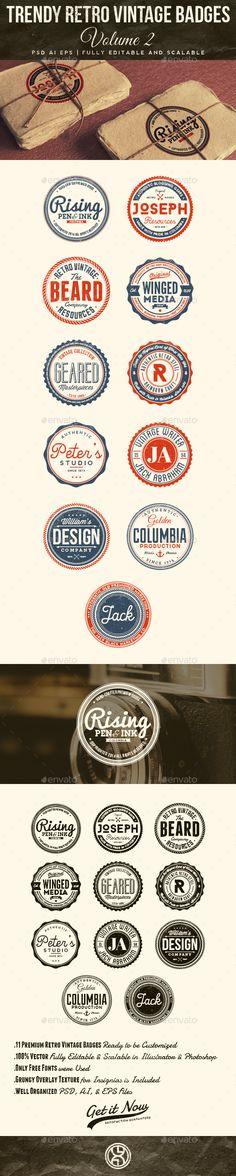 Trendy Retro Vintage Badges Volume 2 — Photoshop PSD #craft #emblem • Available here → https://graphicriver.net/item/trendy-retro-vintage-badges-volume-2/7586669?ref=pxcr