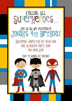 Superhero invitation - $1.00 per custom printed invite plus other party supplies for good prices