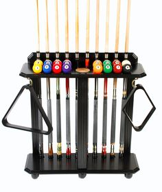 Cue Rack Only- 10 Pool - Billiard Stick & Ball Set Floor - Stand Choose Mahogany, Black or Oak Finish Pool Table Room, Pool Tables, Buy A Pool, Pool Table Accessories, Garage Game Rooms, Pool Table Covers, Pool Sticks, Man Cave Items, Pool Table Lighting