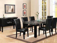 patterned black dining room table set in minimalist design