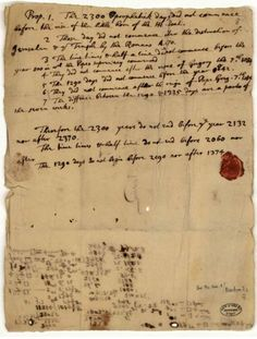 Isaac Newton, End-Time Calculations: not the work of Newton as a scientist, but rather an example of his theological scholarship.