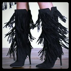 Black Fringe Reggie Boots JustFab (Petite Friendly Love them but a 4.25 inch heel is too high for me these days. :(  Amazing style. No platform. True to size fit. My loss = Your gain. Never worn. JustFab Shoes Heeled Boots