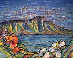 Diamond Head Wonder Colleen Wilcox Art View of Diamond Head from Waikiki Acrylic on Canvas Original: Sold Prints: Available, click Buy This Now (above) Painting Inspiration, Art Inspo, Hawaii Painting, Hawaiian Art, Tropical Art, Surf Art, Silk Painting, Crackle Painting, Bunt