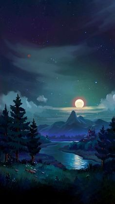 Nature nights with cool air remind me of herms fantasy landscape, landscape art, fantasy Scenery Wallpaper, Landscape Wallpaper, Nature Wallpaper, Mobile Wallpaper, Wallpaper Backgrounds, Fantasy Art Landscapes, Fantasy Landscape, Landscape Art, Anime Kunst