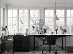 Interiors designed by the stylist Pella Hedeby on Ikea Livet Hemma Office Furniture Design, Ikea Furniture, Studio Apartment Living, Ikea Home Office, Dream Decor, Modern, House Styles, Home Decor, Desk Space