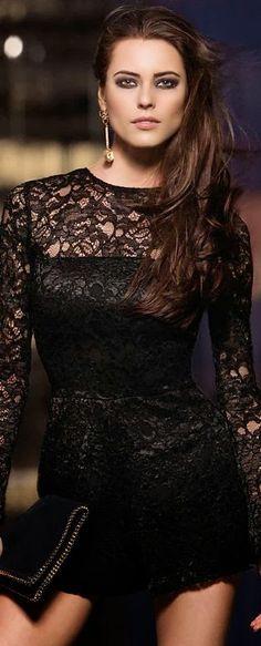 Adorable black lace romper