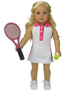 "Gray Tennis Racket /& Ball for American Girl Kidz N Cats and Other 18/"" Dolls"