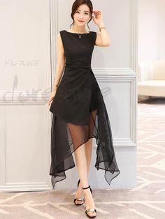 Women's fashion irregular hem full two-color sleeveless long length dating dress 12875911 - Date dresses - Doresuwe.Com