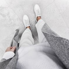 White + grey today. ➖ Shop coat & pants via www.themodernedit.com…