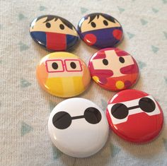 Baymax, Hero and Honey Lemon from Big Hero 6 One Inch Buttons Pack! Perfect for park bags, lanyards, and jackets!