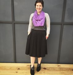 Skirts with pockets - the actual greatest thing since sliced bread. Loving my new black #madisonskirt paired with a #randytee and #infinityscarf for a winter welcoming spring combination! #ootd #lularoe #lularoemgwells @lularoe