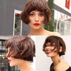 Bob with fringe. - Bob with fringe. Short Hair Makeup, Blonde Hair Makeup, Short Curly Hair, Short Hair Cuts, Short Bob Bangs, Bobbed Hairstyles With Fringe, Curly Bob Hairstyles, Easy Hairstyles, Easy Hairstyle Video