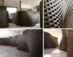 Hand-Crafted by Robots - brick wall curved design - Designed by Swiss architects Gramazio and Kohler