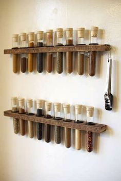 Enjoy cooking even more by turning your kitchen into a lab with this DIY test tube spice rack! Test tube spice racks can Test Tube Spice Rack, Diy Spice Rack, Spice Storage, Storage Rack, Spice Rack On Wall, Upcycled Spice Rack, Food Storage, Hanging Spice Rack, Test Tube Holder