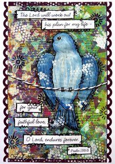 Mixed Media Card - Blue Bird