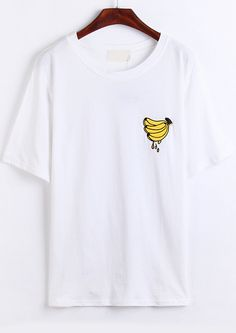 White Short Sleeve Banana Print T-Shirt