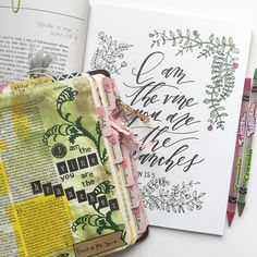 "Melanie on Instagram: ""Love this verse! { I am the vine; you are the branches } #biblejournalingdaily #biblejournaling #journalingbible #soulscripts #paigetatecoloring #coloringpaige #bibletabs"""