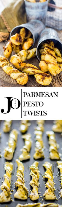 Delicious Parmesan Pesto Twists perfect for a snack or as an easy and impressive appetizer. 3 ingredients are all you need! New Recipes, Snack Recipes, Cooking Recipes, Favorite Recipes, Bread Recipes, Pesto, Good Food, Yummy Food, Yummy Snacks