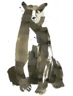 """The Bear"" - Sarah Maycock {contemporary art animal watercolor painting} Art And Illustration, Inspiration Art, Art Graphique, Art Design, Painting & Drawing, Watercolor Art, Illustrators, Cool Art, Art Drawings"