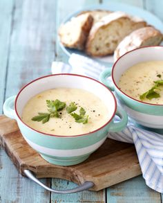Deliciously smooth and flavoursome Potato Soup! Serve with fresh ciabatta bread. Creamy Potato Soup, Hot Soup, Crock Pot Cooking, Winter Warmers, Ciabatta, Chowder, Family Meals, Crockpot, Soups