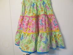 Handmade Girl's Skirt, Girl's clothes, gathered skirt, green and pink cotton material, multi colored butterflies, Spring / Summer, Size 10. She has doll clothes too!