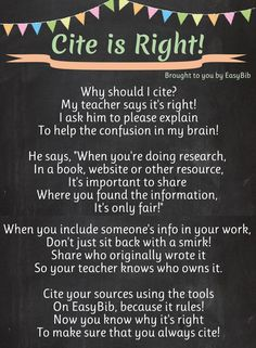 What a cute little rhyme to help younger students understand the importance of citing their work. They could remember this for their higher grade assignments to cite correctly. Library Research, Library Skills, Research Skills, Library Lessons, Library Ideas, Ela Classroom, Classroom Posters, Classroom Ideas, Help Teaching