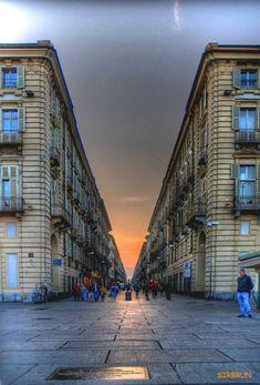 Torino - Via Garibaldi Piedmont Italy, Turin Italy, Piedmont Region, The Beautiful Country, Beautiful Places, One Point Perspective, Perspective Drawing, Via Garibaldi, Travel Around The World