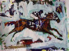 "Secretariat Horse Racing Painting, mixed  media on paper, measures 22"" x 30"". Loose, spontaneous, colorful race horse art!"