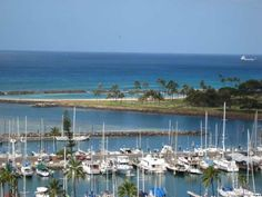 Our view from the 10th floor of the Ilikai Marina Apartments, Honolulu, Hawaii