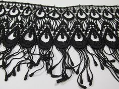 Black Peacock Venice Lace – 6 inches long for Costume or Burlesque Trim (1 yard) by OdysseyCache | Smoked Glass Goggles