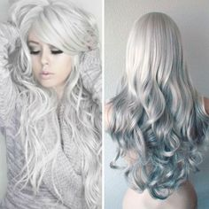 Grey hair, gray hair, silver hair, pastel hair. Silver hair color with natural waves, look  so nice ,add it in my hair color list
