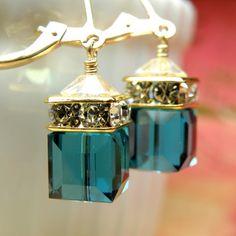 Swarovski Crystal Teal Blue Earrings.