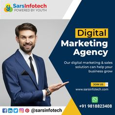 If you are active on digital platforms, you will have an edge over your competitors. Our digital marketing and sales solutions will help you in getting the strategy in-line with your customer's demands. #viralmarketing #youtubemarketing #instagram #videomarketingtips #socialselling #business #strategy #linkedInMarketing #onlinemarketing #promotion #instamarketing #twittermarketing #facebookmarketing #b2b #socialselling #marketing #branding #marketingtips #marketingstrategy #sales… Viral Marketing, Marketing Branding, Facebook Marketing, Sales And Marketing, Online Marketing, Social Media Marketing, Digital Marketing, Best Web Design, Web Design Company