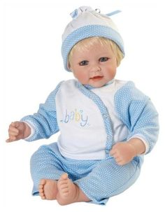 "Baby Love Blue - Boy Adora Doll 20"" From their sweet costumes with adorable details to their lovable faces, there is something for everyone to cherish for generations to come. The white bodice of his side snap shirt has been embroidered in a fun font with the word, baby!"
