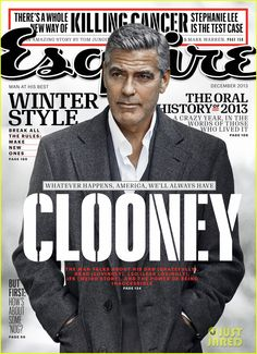 George Clooney suits up for the cover of Esquire's December 2013 issue. #Hollywood #Fashion #Style