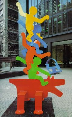 Things we covet: this colorful outdoor metal statue by artist Keith Haring at Schneider Children's Hospital in NY.