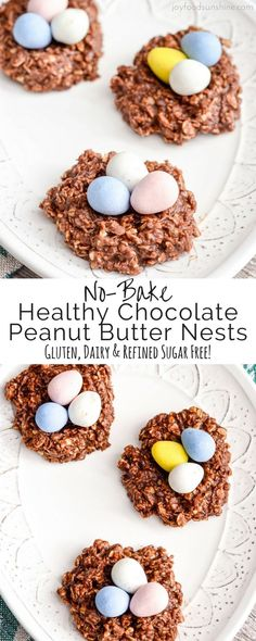 Healthy Easter Nest Cookies Recipe gluten-free vegan Healthy No-Bake Chocolate Peanut Butter Cookie Nests! Only 8 good-for-you ingredients they're the perfect treat to celebrate Easter! Gluten-free, dairy-free, refined-sugar free AND vegan! Easter Snacks, Easter Brunch, Easter Treats, Easter Food, Easter Desserts, Easter Baking Ideas, Easter Eggs, Easter Cookies, Easter Table