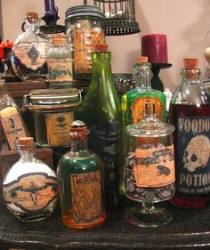 Labeled bottles and jars