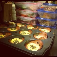 Meal prep! Egg white muffins made in Canadian bacon, and a weeks worth of meals! Fail to prepare, prepare to fail.