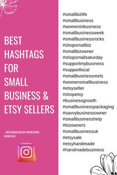 Instagram Hashtags For Followers, Best Instagram Hashtags, Instagram Likes And Followers, Small Business Week, Business Tips, Business Hashtags, Business Inspiration, Boutiques, Kid Stuff