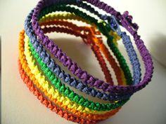 Stackable Hemp Jewelry Rainbow Bracelets FREE SHIPPING